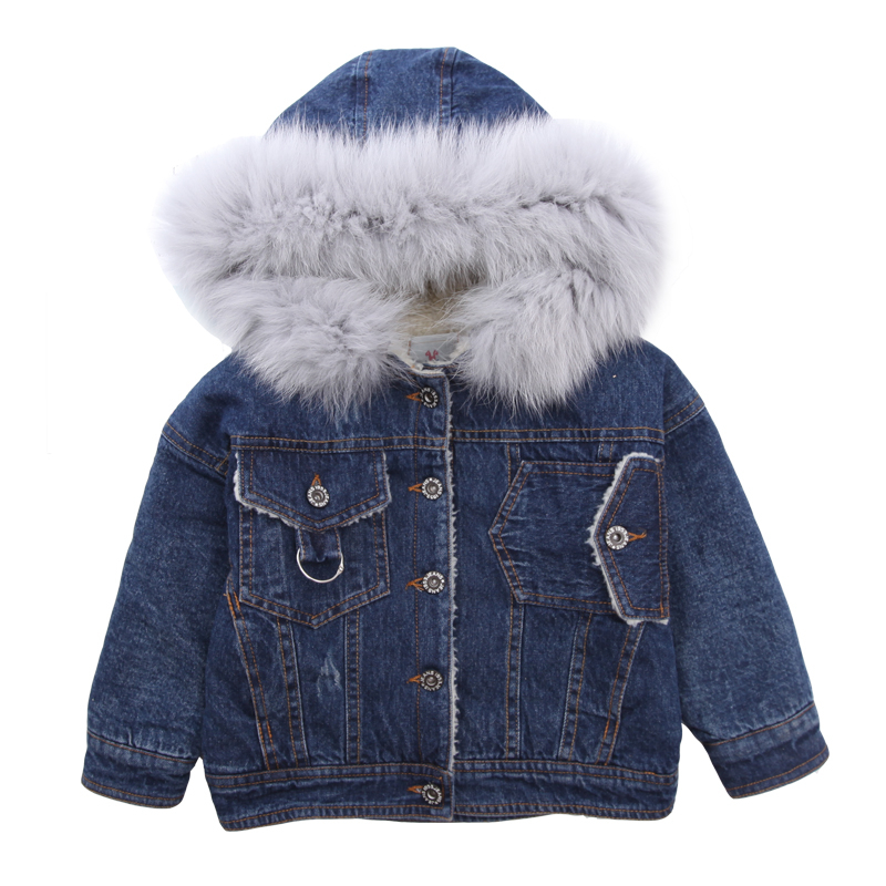 e06b0ea20 Baby girl clothes winter new Girls denim jacket kids thickening warm ...