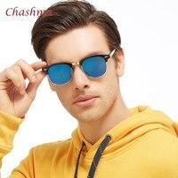 Chashma Retro Rivet Polarized Sunglasses Men Classic Brand Designer Unisex Sun Glasses Half Frame Vintage UV400