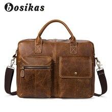 hot deal buy bosikas men briefcase fashion briefcases handbag men's bag for document leather zipper shoulder genuine leather laptop bag