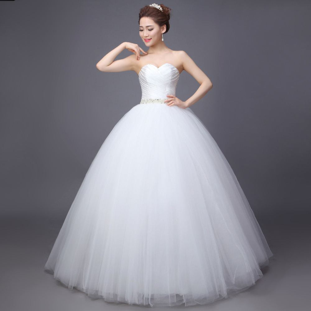 Sweetheart Waist Beaded Tulle Princess Cheap Wedding Dress