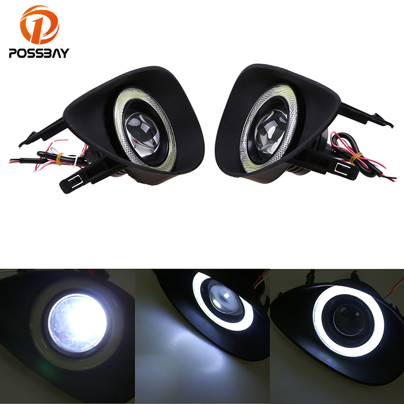 POSSBAY Car Styling Front Lower Bumper Fog Lights White Angel Eyes Bulb Driving Lamp for Toyota Yaris Hatchback NCP9# 2006-2010 cambridge idioms dictionary