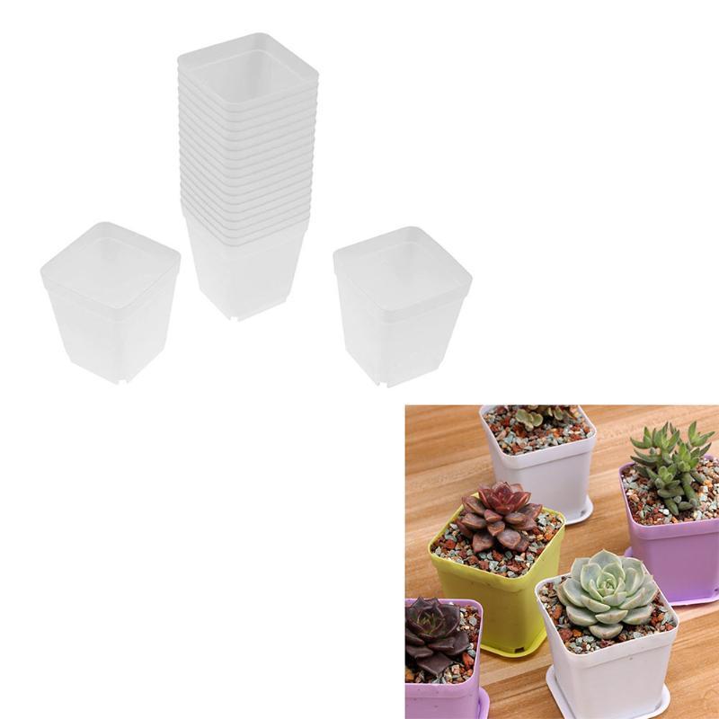 20pcs Plastic Plant Flower Pot Trays Small Fleshy Plants Flowerpot White Flower Pots Small Mini Home/Garden/Office Decorations