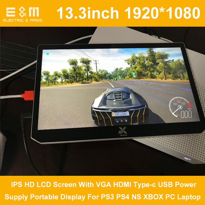 13.3 Inch 1920*1080 IPS HD LCD Screen With VGA HDMI Type-c USB Power Supply Portable Display For PS3 PS4 NS XBOX PC Laptop