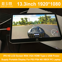 13.3 Inch 1920*1080 IPS HD LCD Screen With VGA HDMI Type c USB Power Supply Portable Display For PS3 PS4 NS XBOX PC Laptop