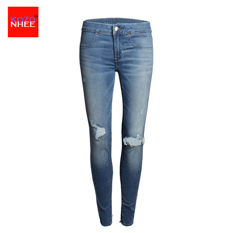 Casual Elasticity Skinny  Hole Ripped Jeans Women Denim Fashion Trousers Tattered Distressed Tight Jeans Washed Slim Female Jean beholder ds1 3 axis handheld gimbal stabilizer for a7s canon 6d 5d 7d dslr camera