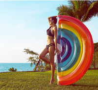 2017 New Arrival Beach Toys 180*90cm Rainbow Pool Floats Giant Inflatable Toy w/ feet pump Party Games Floating Bed Air Mattress
