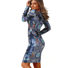 Autumn Dress Fashion Round Neck sheath pencil Long sleeves Dresses Design Print Vintage Women Dress Sexy