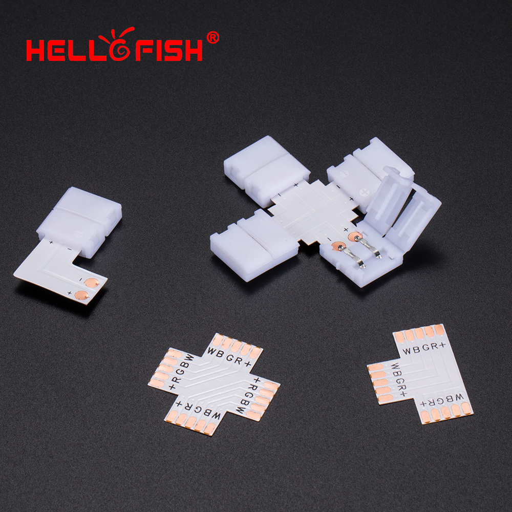 LED strip accessories RGB RGBW FPC Quick <font><b>connector</b></font> 2 4 5 <font><b>pin</b></font> 8 <font><b>10</b></font> 12 mm Right angle T-tee Hello Fish image
