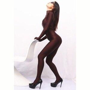 Image 3 - Stehkragen Weichen Spandex Overall Frauen Lycra Körper Gestaltung Sexy Overalls Cosplay Leistung Kostüm einteiliges Strumpfhosen Strampler