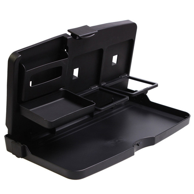 Universal Black Car Food Tray Folding Dining Table Drink Holder Pallet Back Seat Water Cup Abs