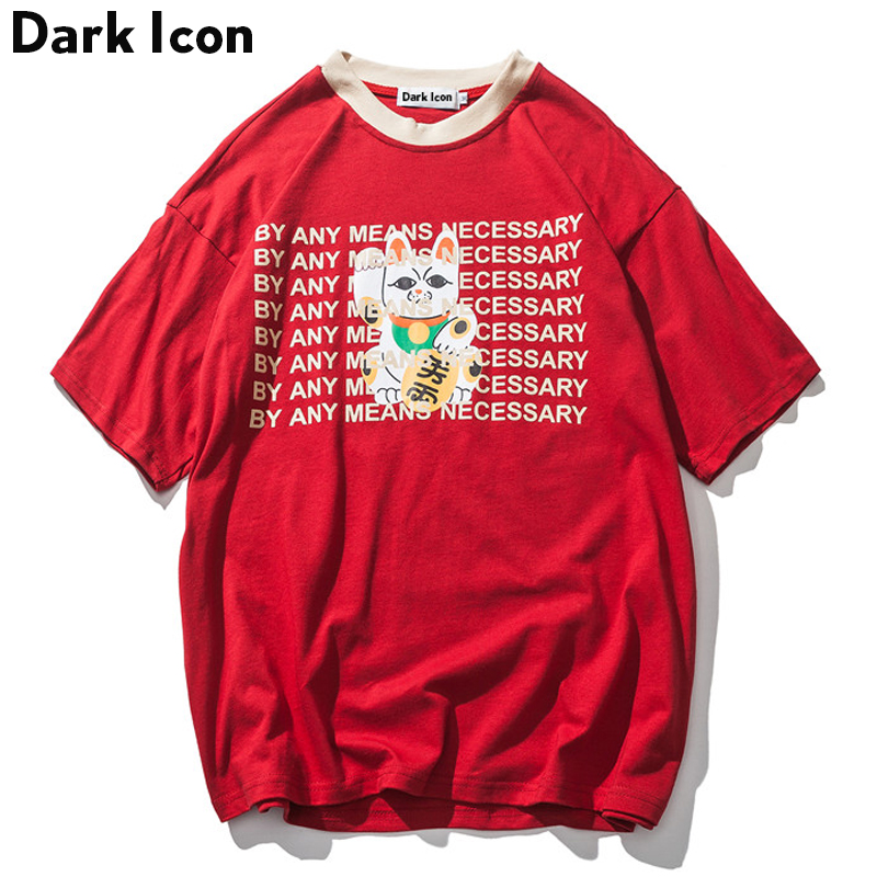 DARK ICON Novelty Printing Oversize T shirt Men 2019 Summer High Street Loose Style Hip Hop Tshirt Streetwear Clothing Blue Red in T Shirts from Men 39 s Clothing