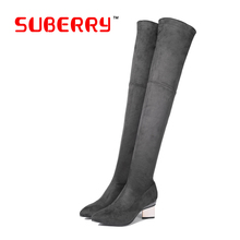 SUBERRY Brand Winter Women Over The Knee High Boots Pointed Toe Thigh High Woman Genuine Leather Metal Medium Heel Long Boots