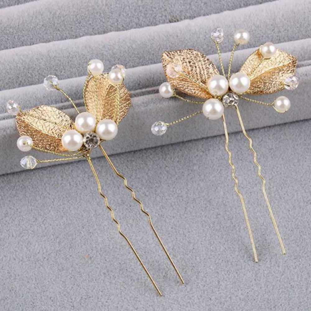 2019 new direct selling plant tiaras elegant bridal simulated pearl golden leaf handmade wedding hair accessories women jewelry