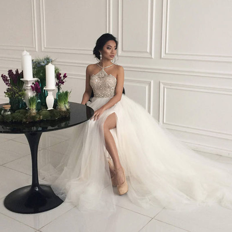 Princess Fashion Wedding Dresses Bridal Dress Crystals Casamento Robe De Mariee Tulle Wedding Gowns Customized Sexy