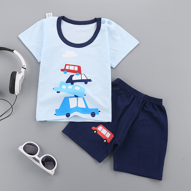 a4a784729 Boys Girls Suits 2018New Cartoon Summer Baby Boys Clothes T shirts ...
