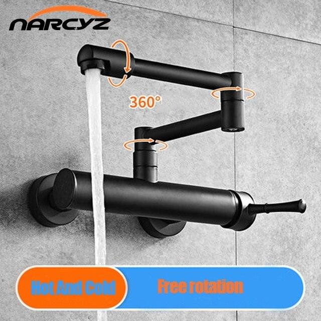 Kitchen Faucet 360 Degree Rotating Black Wall faucet Mixer sink wall mounted faucet Cold and Hot faucet Wall tap XT 186