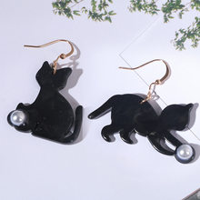 New Arrival Cute white black asymmetric kitten cat earring cat playing pearl ball dangle drop earring for women brincos jewelry(China)