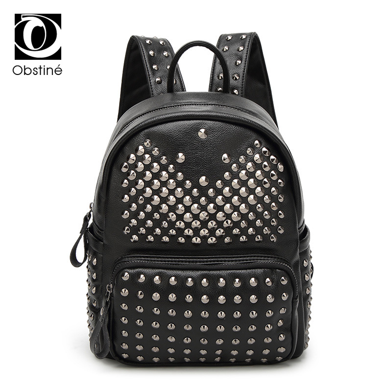 Obstine 2018 Women Fashion Rivet Backpack Ladies PU Leather Bags Girls Punk Style Casual Backpacks Female Student Schoolbags 2016 fashion women waterproof pu leather rivet backpack women s backpacks for teenage girls ladies bags with zippers black bags