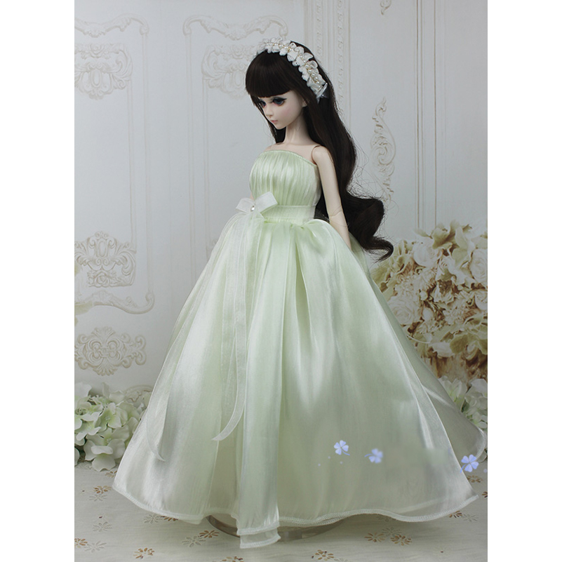 1/4 1/3 Wedding Dress BJD SD Doll Clothes With Headband Headdress Tube Top Evening Dress For 1/4 1/3 Doll Accessories Toys 1 3 uncle bjd sd doll clothes accessories 4 color bjd hat bowler hat