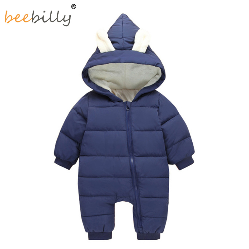 Baby Rompers Winter Jackets for Baby Girls Clothing Spring Autumn Coats Rabbit Ear Style Overalls For Baby Boys Newborn Clothes spring baby boys girls clothing winter baby hooded rompers cotton padded kids warm overalls climb clothes for newborn babies