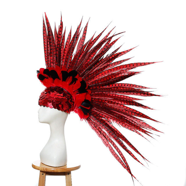 Halloween cosplay costumes singers stage performance show custom carnival costume accessories American Indian feather headpieces