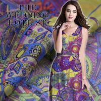 Summer High Grade Printing 100 Silk Chiffon Cloth Fabric Light Silk Chiffon Dress Shirt Fabric Handmade