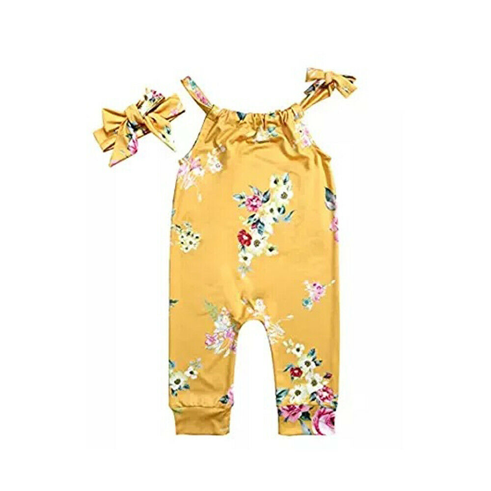 Toddler Baby Girl Floral Strap Jumpsuit Sleeveless Halter Romper + Bow Headband Summer Outfit Clothes
