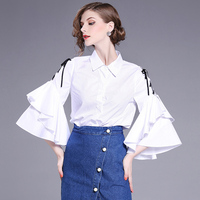 2017 Brand Ladies Fashion High End Temperament Lapel Banded Speaker Sleeve Tie Shirts
