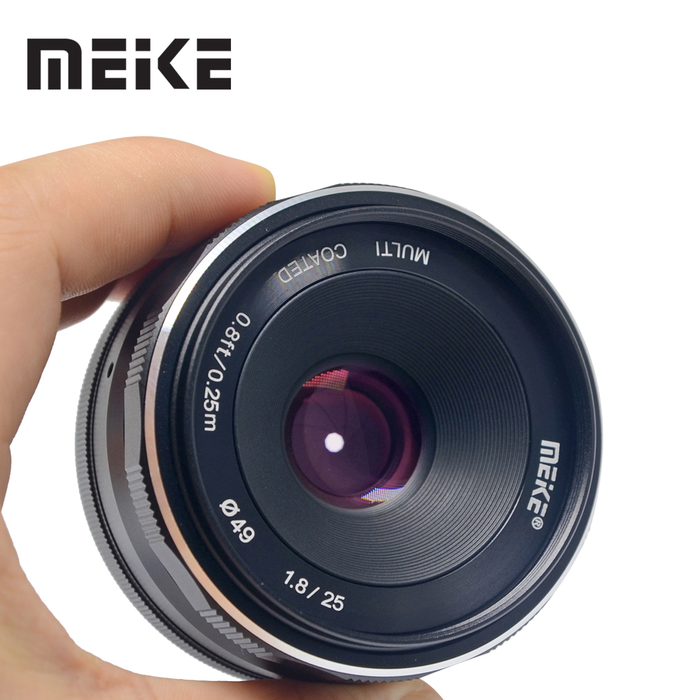 Meike 25mm F1.8 Large Aperture Wide Angle Lens Manual Focus Lens for Panasonic Olympus M4/3-mount Mirrorless Cameras with APS-C meike 12mm f 2 8 wide angle fixed lens with removeable hood for panasonic olympus mirrorless camera mft m4 3 mount with aps c