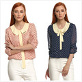 New Women Casual Basic Summer Autumn Chiffon Blouse Top Shirt Full Sleeve Dot Spots bowknot Patchwork Plus Size