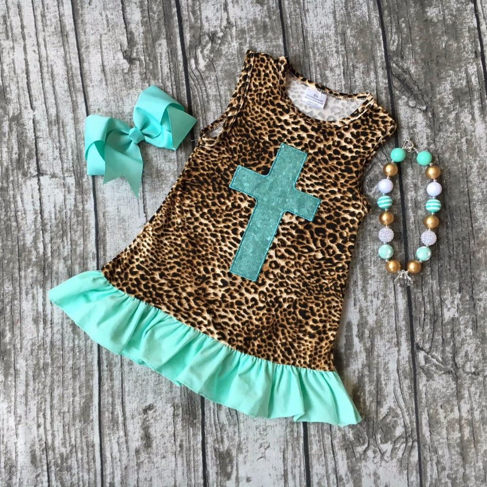 summer cotton milk silk baby girls kids boutique clothes dress sets mint leopard Cross print ruffles with matching accessories аккумулятор для фотоаппарата digicare plc 11l nb 11l