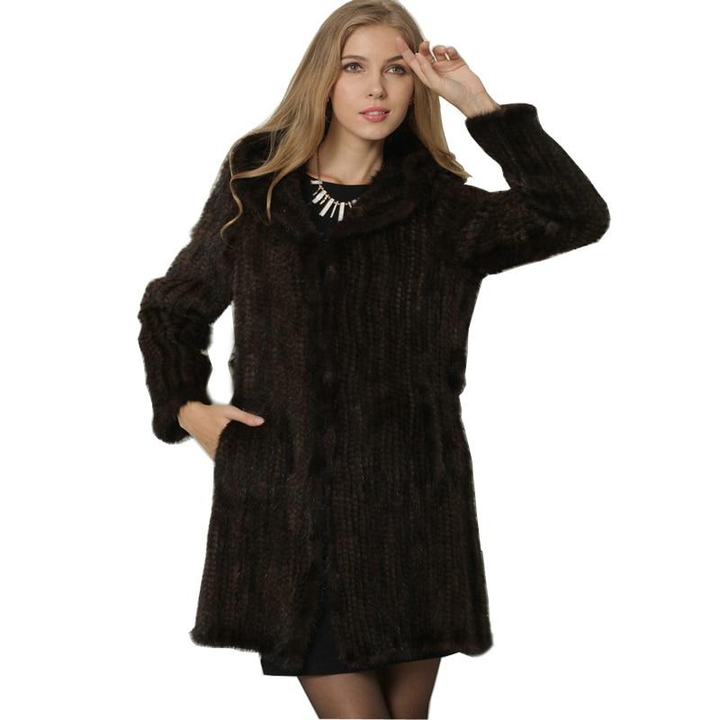 Женское пальто из натурального меха ручной работы, Вязаные норковые шубы с меховым капюшоном, зимние меховые куртки для женщин