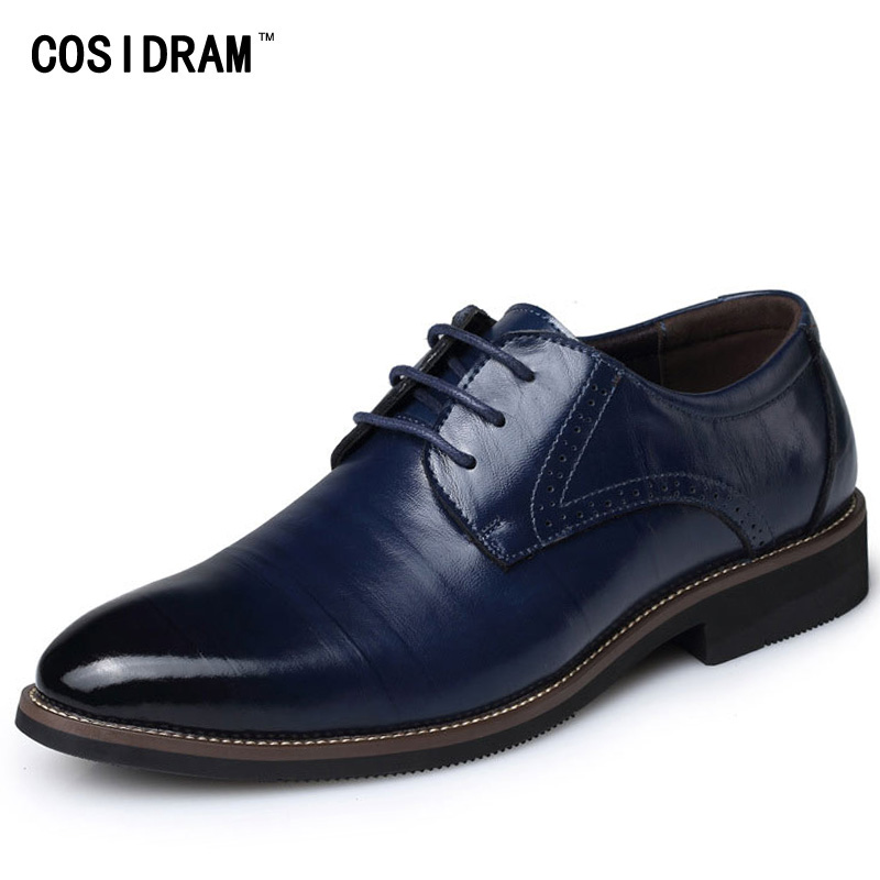 COSIDRAM Pointed Toe Men Formal Shoes Business Wedding Split Leather Oxford Shoes For Men Dress Shoes Plus Size 47 48 RME-331