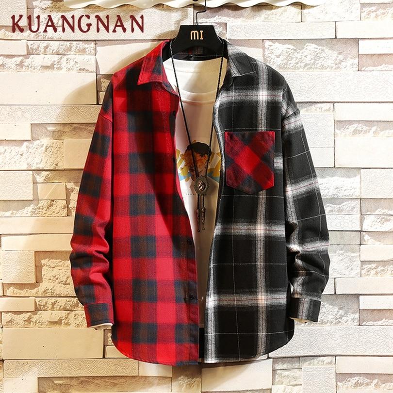 KUANGNAN Japan Style Red Patchwork Shirt Men Streetwear Men Shirts Casual Slim Fit Korean Men Shirt Long Sleeve 2019 Spring New