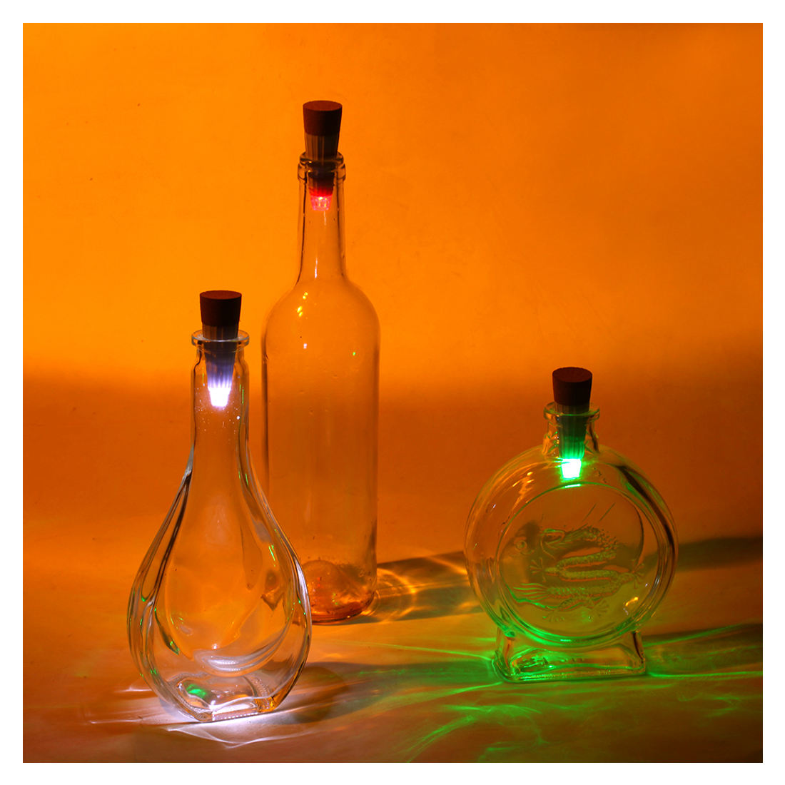 PHFU-7-color LED cap lights USB LED Light Cork To Wine Bottle White