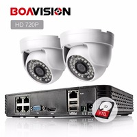 HD 4CH 1080P POE NVR Kit CCTV System 2pcs 720P 1 0MP IP Camera IR Mini