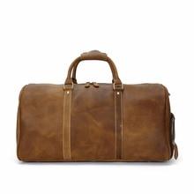 Новый плюс версии Ретро crazy horse кожа портативный большая сумка дорожная сумка кожа перекинул мужской сумка большая емкость с сумочкой