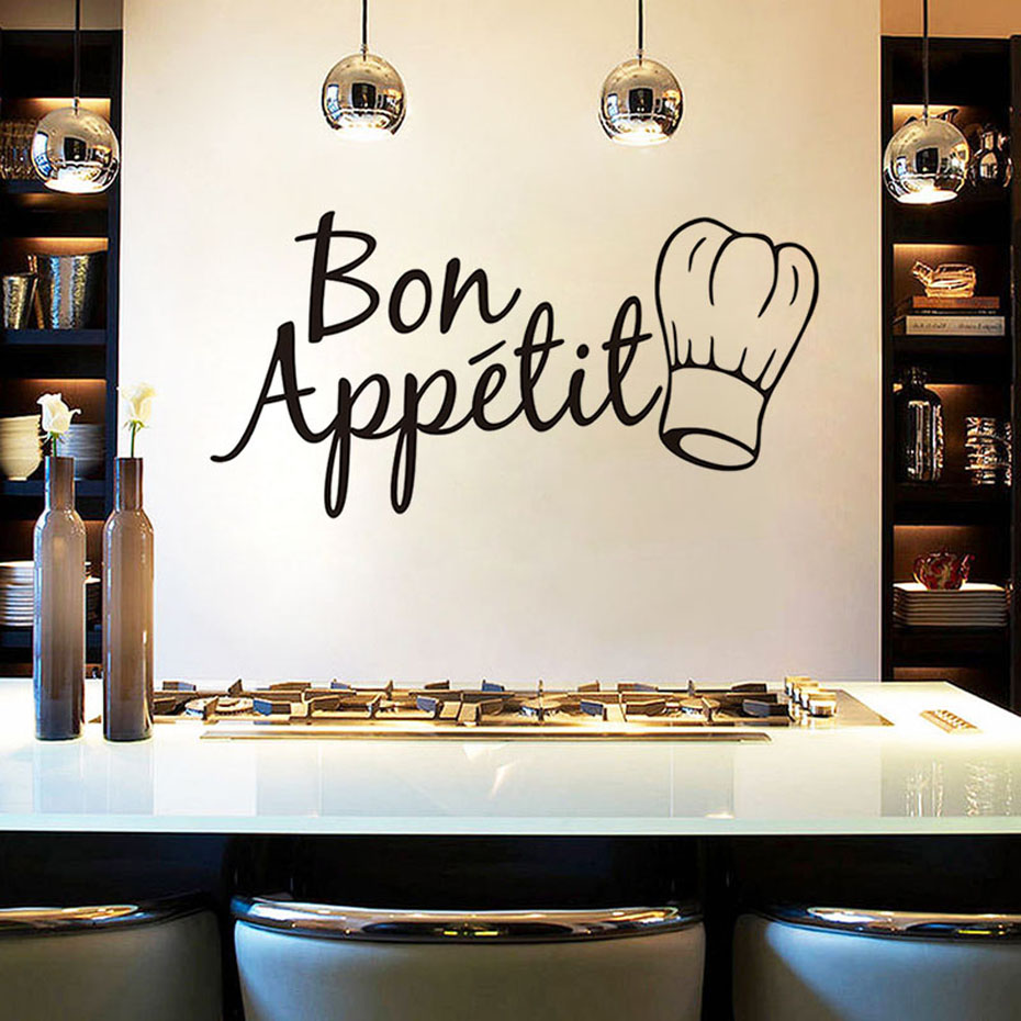 Bon Appetit Food Wall Stickers For Kitchen Restaurant Dining Room Decoration DIY Vinyl Adesivo Waterproof Wallpaper Home Decor