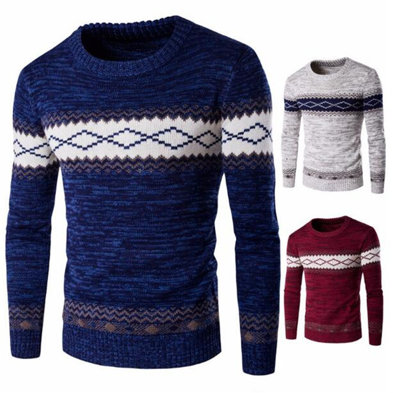 Long-Sleeve Sweater Pullovers Knitwear Male Men's Autumn/winter O-Neck Striped Casual