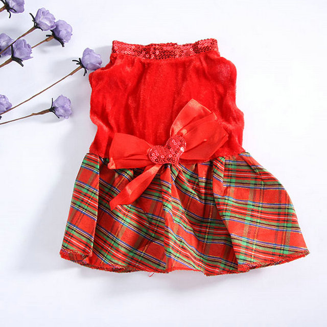 Pet Dogs Christmas Party Dress Tutu Dress Red Plaid Xmas Clothing Puppy Cat  Dress Costumes Outfit aad655546381