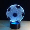 3D Efeito Visual de Luz Da Lâmpada Interruptor de Toque & Controle Remoto Cores Além de Mudanças de Carga USB Luz da Noite Decoração de Casa Lâmpada (Soccer)