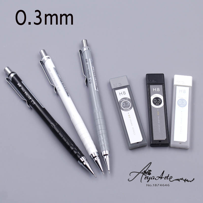 3PCS/ Lot 0.3mm Mechanical Pencil Simple Fresh Automatic Pencil Set For School Supplies Korean Kawaii Stationery