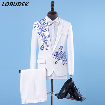 Men's Suit Formal sequins Performance Costume Male Host stage show Slim Suit Wedding groom Studio Blazers Singer Chorus costumes