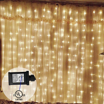 300 led 3x 3m string fairy lights indoor outdoor curtain - Indoor string light decoration ideas ...