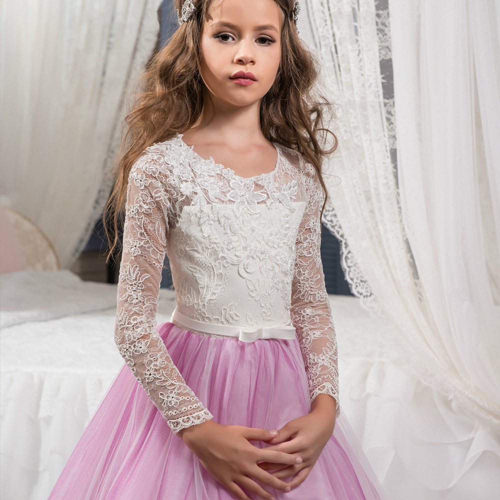 Pink Flower Girl Dresses with Sash Lace Appliques Custom Made Ball Gown First Communion Dresses for Girls Elegant in Dresses from Mother Kids