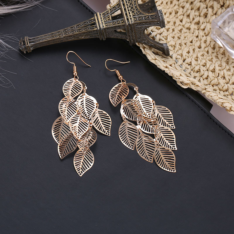 Fashion Hollow Flower Gold Color Leaf Drop Dangling Earrings pendientes Jewelry Wedding Bridal Tassel Long Earrings for women 2