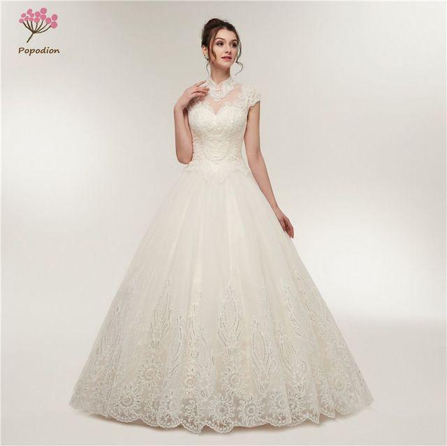Aliexpress.com   Buy Popodion Lace Backless Wedding Dress Wedding . 325858c85208