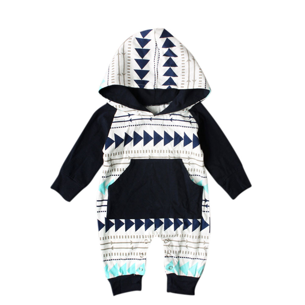 2017 New baby clothes Newborn Infant Baby Boys Girls Geometry Print Hooded Long sleeve Romper Jumpsuit Outfits high quality warm