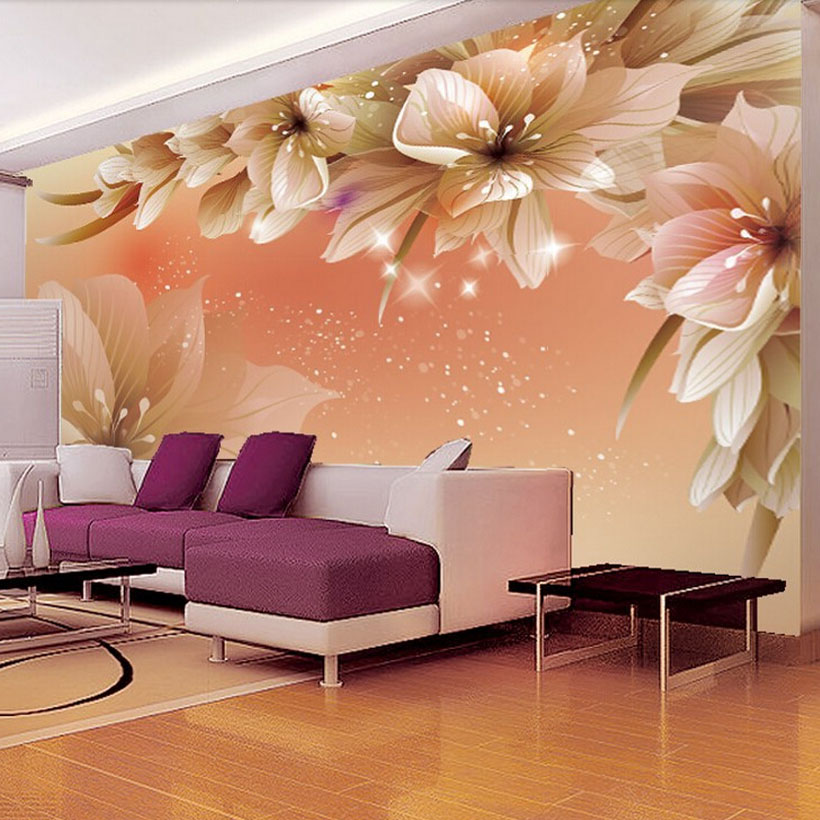 Flowers Wall Wallpapers Design For Your Bedrooms Decorating: Modern Fashion Wall Mural Floral Photo Glitter Wallpaper