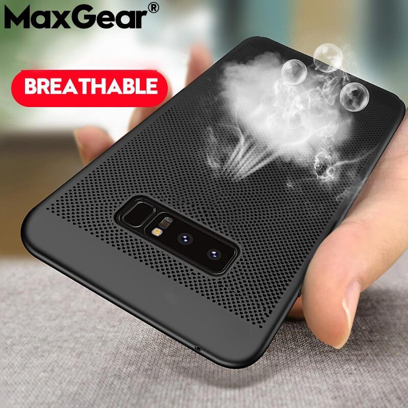 Telefoon Mesh-hoesjes voor Samsung Galaxy S5 S6 S7 Edge S8 S9 Plus slanke koeling hoes Cover voor Note 3 4 5 8 9 Coque Capa Shell